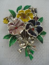 Unusual 1960's Pansy Brooch signed Exquisite (SOLD)